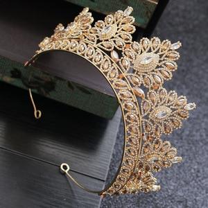 Image 2 - シャンパンラインストーンバロック様式の花嫁クラウン韓国ヘッドジュエリーウェディングヘアアクセサリークリスタルページェントティアラ女王クラウン
