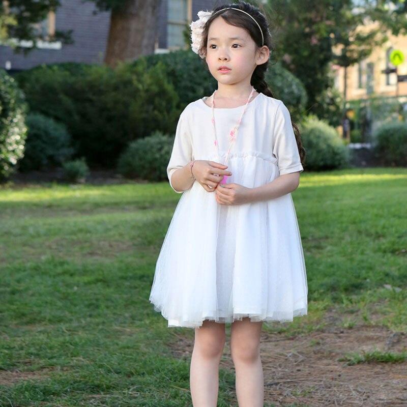 لباس ساده و شیک دخترانه مجلسی با تور سفید و آستر
