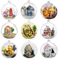 FAI DA TE Casa di Bambola Palla di Vetro In Miniatura Casa Delle Bambole Con Funitures Mini Casa di Costruzione di Modello Giocattoli Regalo di Natale Per I Bambini # E