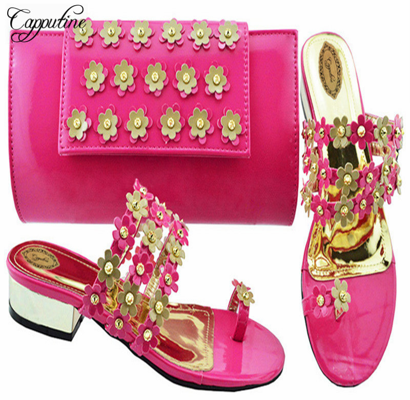 Capputine 2018 Top Selling Italian Shoes And Bags To Match Set African Flower With Bead Woman Pumps Shoes And Bag Set For Party бур sds plus bosch 6 0x50х115мм 10шт 2 608 585 058