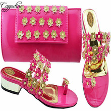 Capputine 2018 Top Selling Italian Shoes And Bags To Match Set African Flower Wi