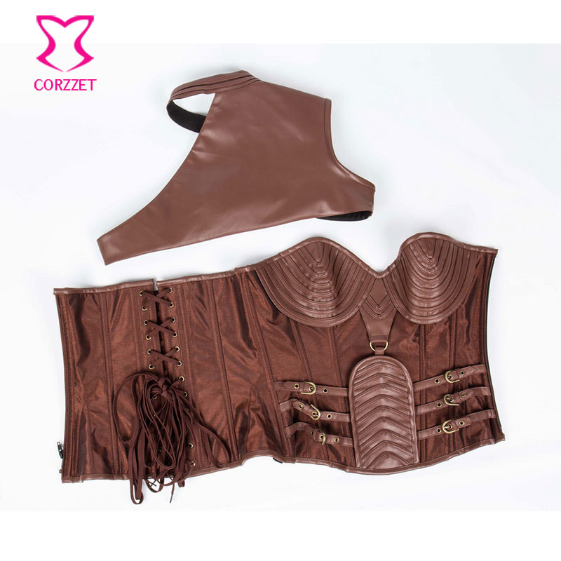 32f0ed1367 Brown Leather Armor Corset Sexy Gothic Corsets And Bustiers Vintage  Steampunk Clothing Corpetes E Espartilhos Plus Size ...
