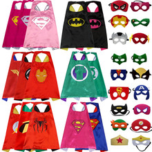 50PCS Anime Superman Hero Cloak Mask + Cloak Batman Spiderman Iron Man cosplay Child Birthday Party Halloween Costume Cloak(China)