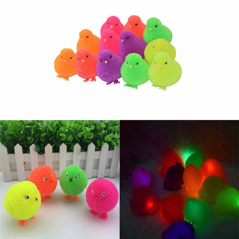 1 шт. светодиодный Мячик с помпоном для вспышки, стоящий детский мяч с пупырышками, цветная яркая светящаяся детская игрушка, цвет цыпленка, случайный