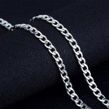 27b8a8c8b3da ONEVAN 4mm hombres 1 1 lado enlace cubano cadena collar 16-24 pulgadas  Popular 925 Cadena de plata collares para las mujeres de .