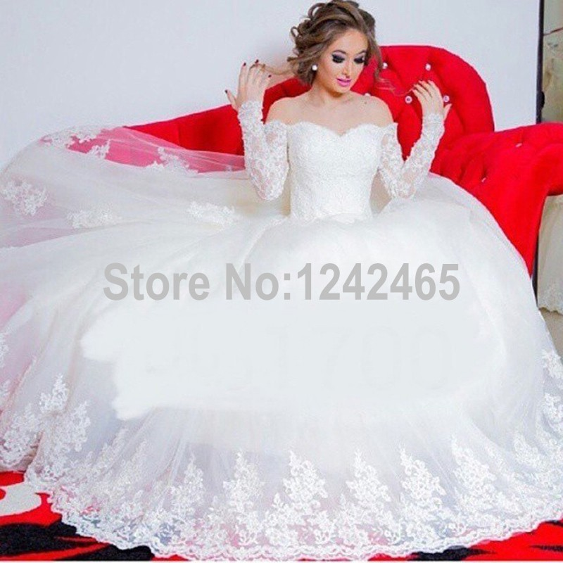 aliexpresscom buy puffy sweetheart tulle 2015 ball wedding gowns sweep train white long sleeves wedding dress with appliqued mc37 from reliable dress