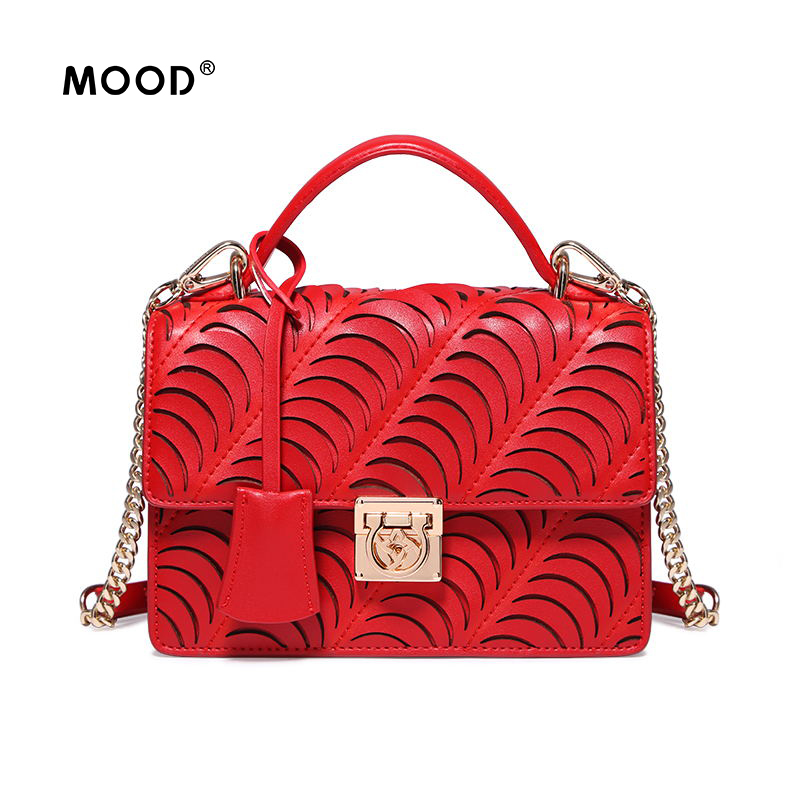 MOOD leather handbags Female bag fashion 2017 new tide joker one shoulder inclined red bag, hollow out Quality guarantee