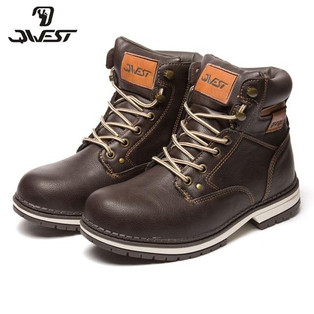 QWEST/теплые модные кожаные ботинки на молнии и шнуровке Высококачественная Нескользящая детская обувь для мальчиков, Размеры 35-41, 82WB-SP-0537