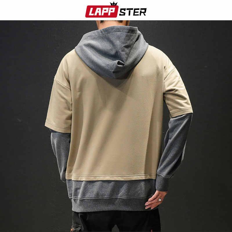 LAPPSTER 일본어 Streetwear 후드 티 까마귀 남자 2020 봄 남자 하라주쿠 가짜 두 조각 스웨터 남성 블랙 후드 플러스 크기