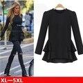 XL-5XL Plus Size T shirt Mulheres Outono Assimétrica Patchwork Chiffon babados Mulheres Tops Para Mulheres Grandes Longa Camisa de Manga Longa T6630