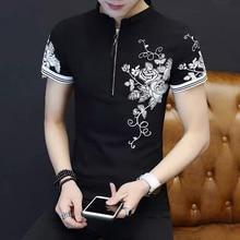 Korean fashion slim rose Floral summer t shirt short sleeve zipper 2019 new black men tshirt white plus size 3xl funny clothes