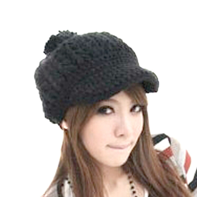 Women Girl Slouchy Cabled Pattern Knit Beanie Crochet Rib Hat Brim