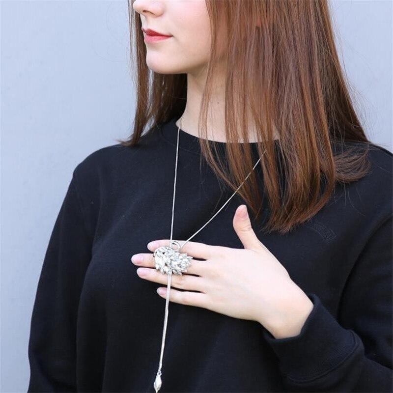 Zircon Swan kalung panjang, Rantai sweater, Mode rantai logam, - Perhiasan fashion - Foto 5