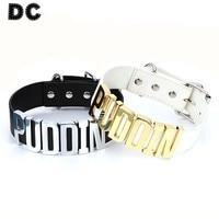 DC 1pcs Lot Wide Gold Rhodium Color Letter Faux Leather Choker Necklaces Collar White Black Fashion