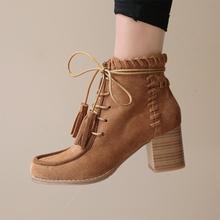 2018 New Western Style Women Genuine Leather Ankle Boots For Women Shoes Chunky Heel Handmade Booties With Tassel Botas Mujer