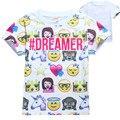 Verão meninas roupas Emoji camiseta crianças mangas Curtas t-shirt partes superiores das meninas dos meninos do algodão camiseta crianças traje rostos sorridentes 2017