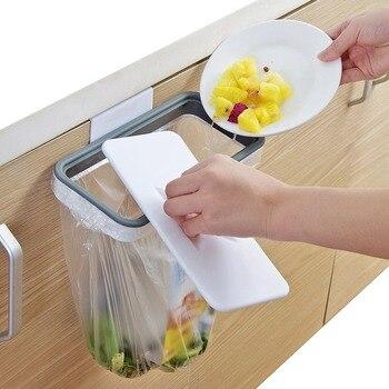ארון פלסטיק אשפה תיק מתלה מטבח ארון תלייה ארגונית אשפה תיק מחזיק עם מכסה