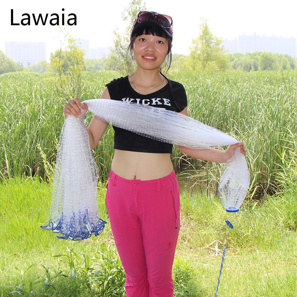 Lawaia Diameter 2.4-4.2m Fishing Net American Hand Casting Net Fishing Network Cast Nets Small Mesh Iron Pendant