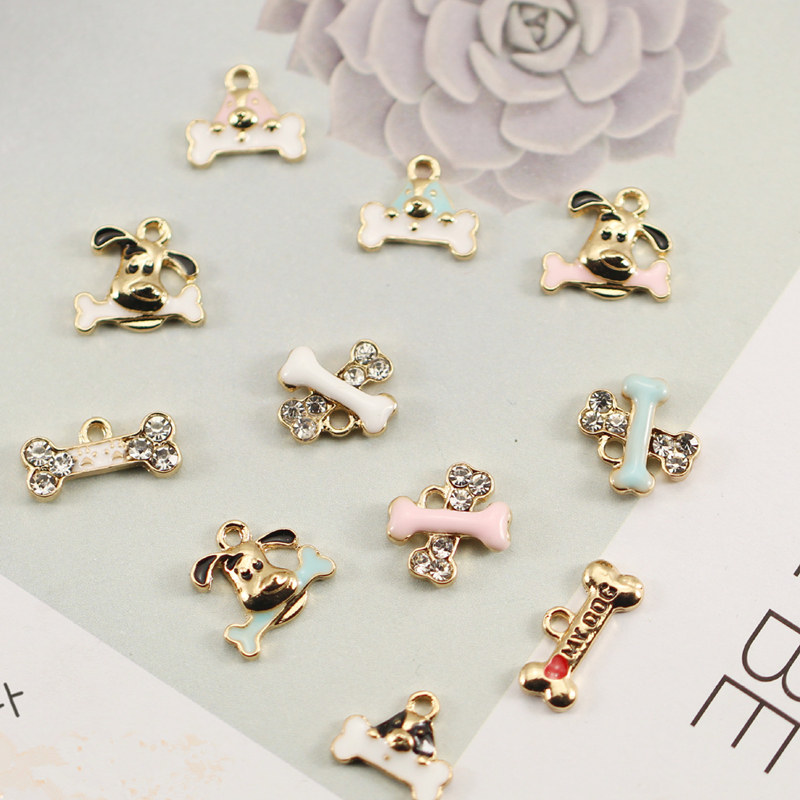 10pcs/lot Cute Dog bone Enamel Charms Metal Gold-colour base Fashion Jewelry Accessories