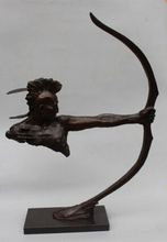 Copper Brass CHINESE crafts Asian 33″Western Art sculpture Bronze Marble Abstract Huntsman Archery Statue