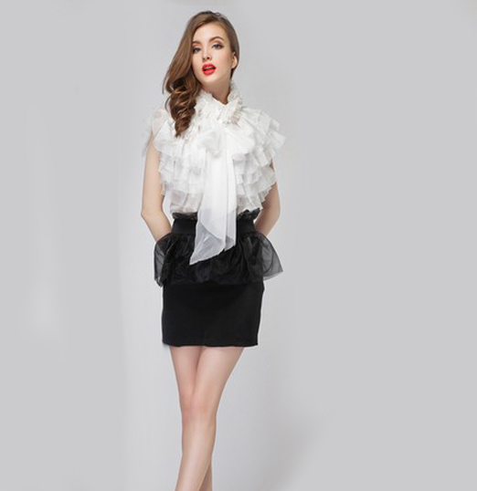 High neck victorian blouse 2018 runway vintage Sexy Perspective royal court princess bow ...