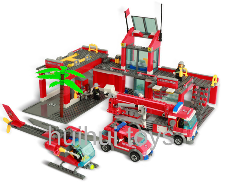 AIBOULLY Original City Fire Station 774 pcs/set Building Blocks Educational Bricks Toys brinquedos City Firefighter Bringuedos large fire station building blocks bricks educational toys learning education baby 2 5 years constructor set toys for children
