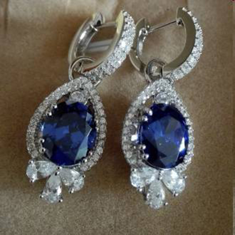 Nieuwe Qi Xuan Fashion Jewelry AAA CZ Blue Stone Earrings S925 Solid Sliver Fashion Blauw Earrings Manufacturer Direct Sales - 2