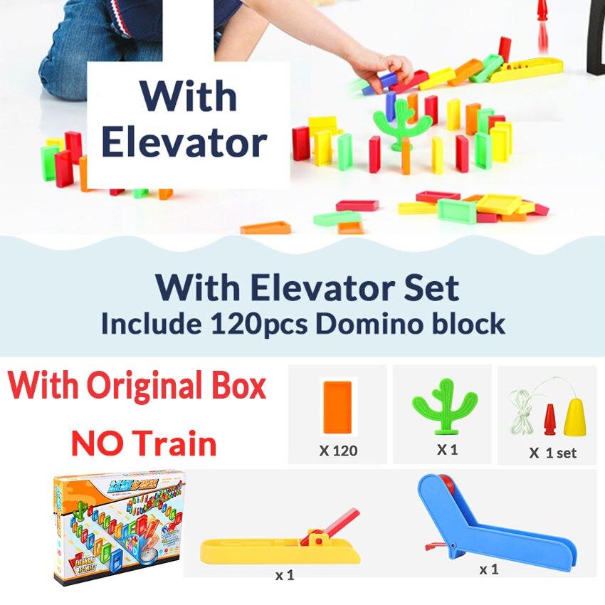 Автоматическая укладка домино кирпич Поезд Автомобиль набор звуковой светильник дети красочные пластиковые блоки домино игра игрушки набор подарок для девочек и мальчиков - Цвет: Elevator set W
