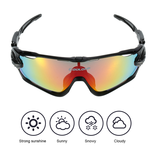 Polarized UV Protection Cycling Sunglasses Bicycle Bike Cycling Eyewear Sports Sun Glasses Goggles with 4 Interchangeable Lenses