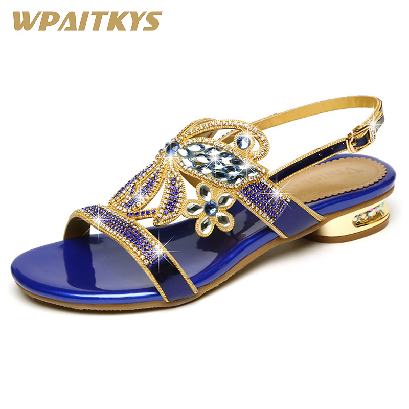 Purple Blue Black Crystal High heeled Shoes Woman Fashion Rhinestone Buckle Strap Leather Women s Shoes