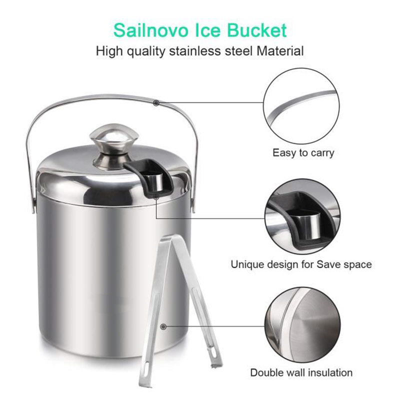Double Wall Insulated Ice Bucket Wine Barrel Stainless Steel Bar Accessory