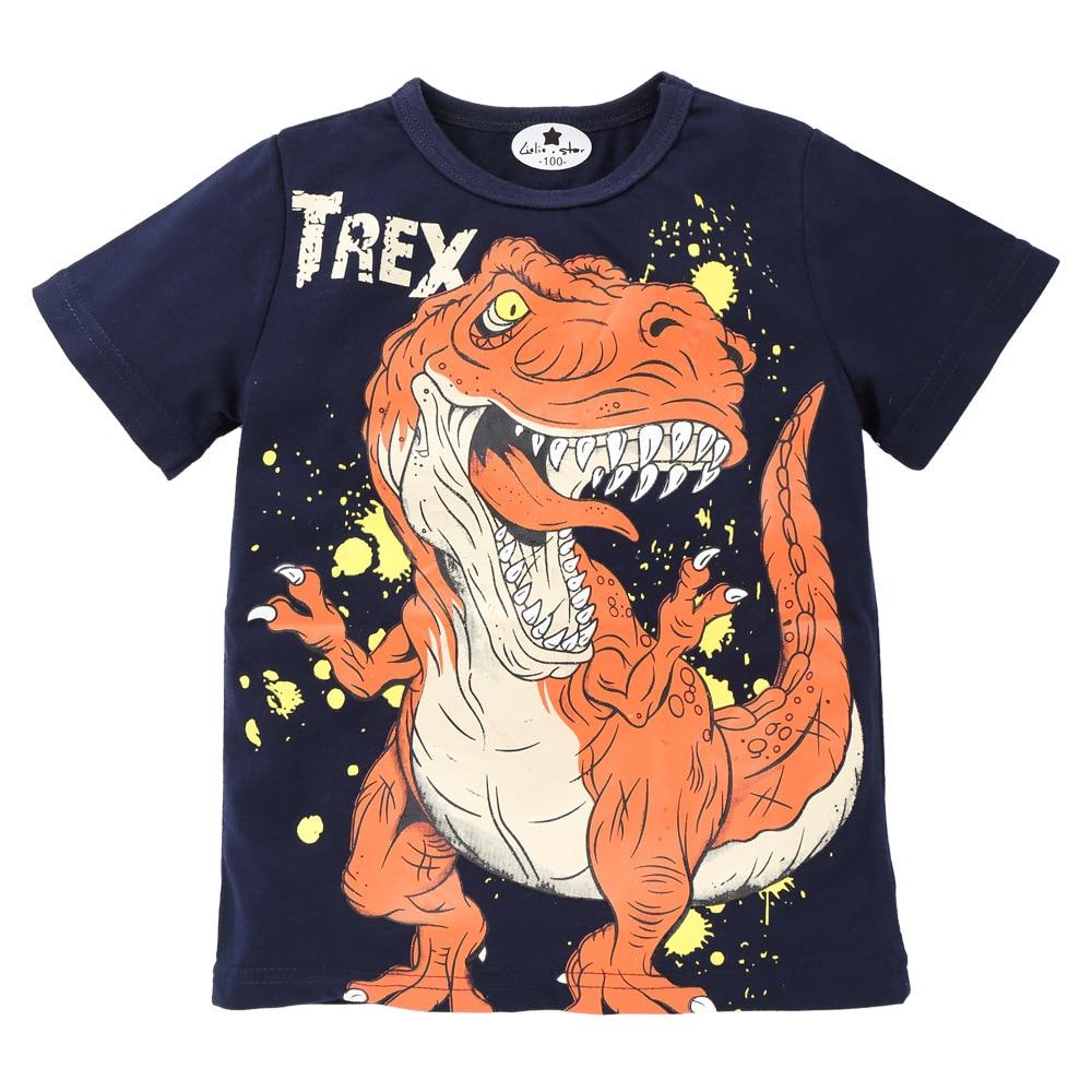 WLG/Летняя хлопковая футболка для мальчиков, Детская Повседневная футболка с принтом динозавра, Детские универсальные темно-синие топы, детс...