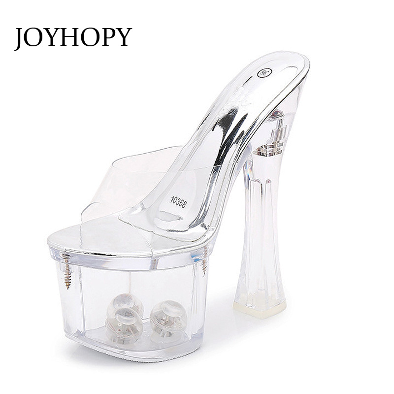 JOYHOPY Sexy transparent 17cm Heel Crystal Shoes Women Vibration Luminous Sandals Fashion Wedding Party Ladies High Heels WS1662 best loved 7 inch shoes sexy fashion sexy crystal diamond sandals 17cm high heeled shoes