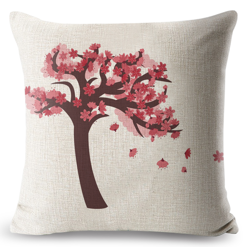 Home Decorative Pillow Case for Office Retro Flower Violet Rural Linen Cotton Throw Chic Style Cushion Cover 45x45 cm Peiyuan