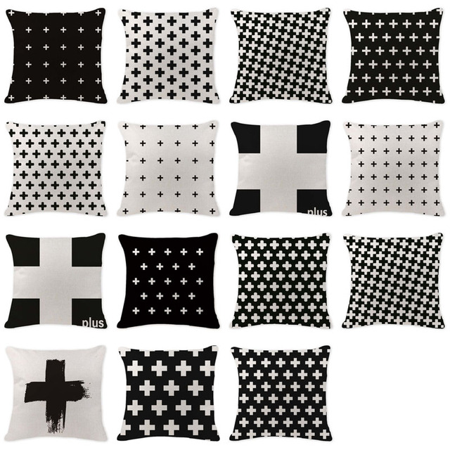 Simple noir blanc géométrie croix housse
