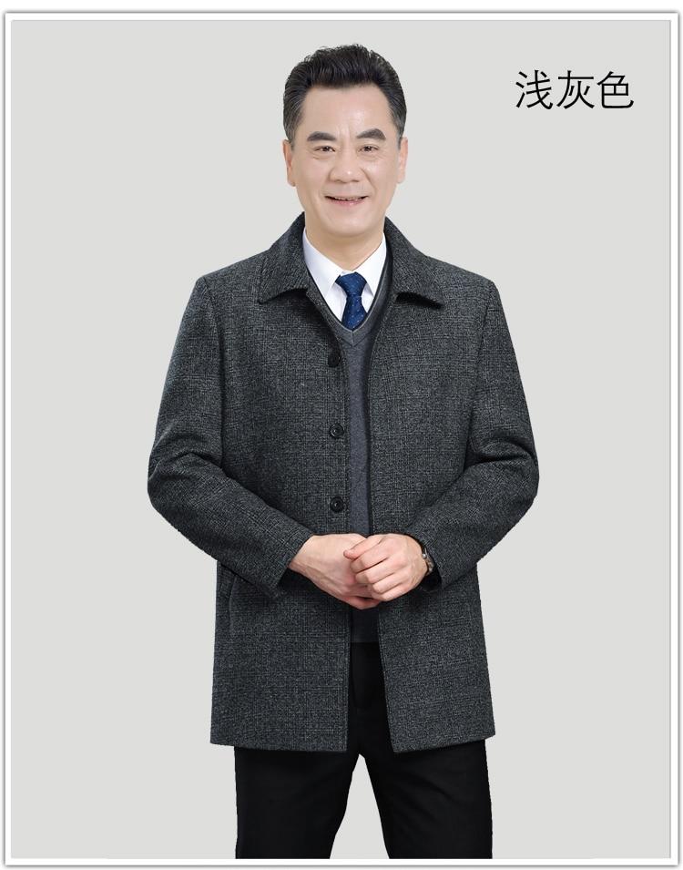 WAEOLSA Mature Men Elegant Jackets Woollen Blends Basic Coat Dark Gray Jackets Aged Man Wool Outerwear Winter Autumn Outfits Father (4)