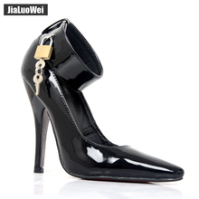 jialuowei BDSM Sexy Fetish High-Heel Pumps Lock And Key 5″ High Heels Pointed Toe Ankle Strap Padlocks Shoes Plus size 36-46