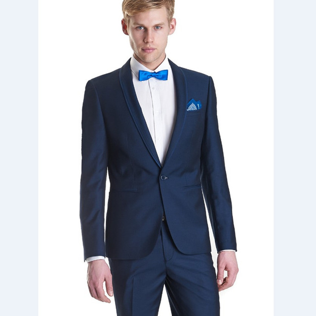 Wedding Suits Tuxedo Mens 2017 Groom One On Dinner Tuxedos Navy Blue Wear Men Suit Jacket Pants In From S