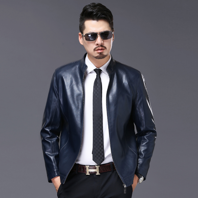 2017 New Autumn Faux Leather Jacket Men Brown Slim Fit Men