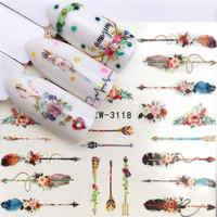 YWK 1 hoja opcional diferentes colores pluma de moda decoración de uñas transferencia de agua pegatina de uñas para las calcomanías de las señoras
