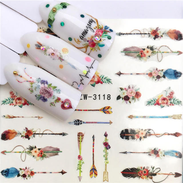 YWK 1 лист дополнительно различные цвета перо модные дизайн ногтей Декор водные переводные наклейки на ногти Стикеры для дам наклейки