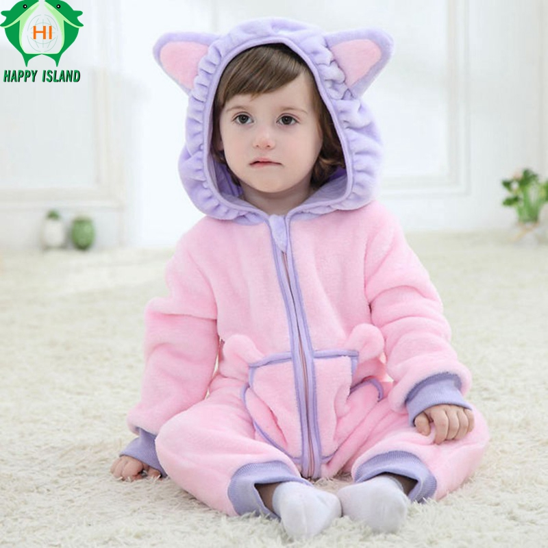 HAPPY ISLAND 0-3 Years Baby Kitty Cat Jumpsuit 2 Colors Newborn Clothes Single Layer Flannel Cartoon Rompers Soft Warm Body Suit aibeile 2017 new 3 colors bear elephant flannel baby blanket newborn soft cartoon blankets 100 100cm for beds thick warm kids