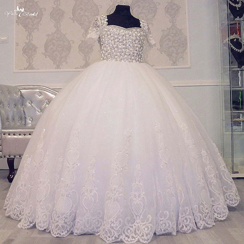 FG66 Real Pictures Yiaibridal Luxury Communion Dresses Crystal Beading Pageant Ball Gowns For Girls