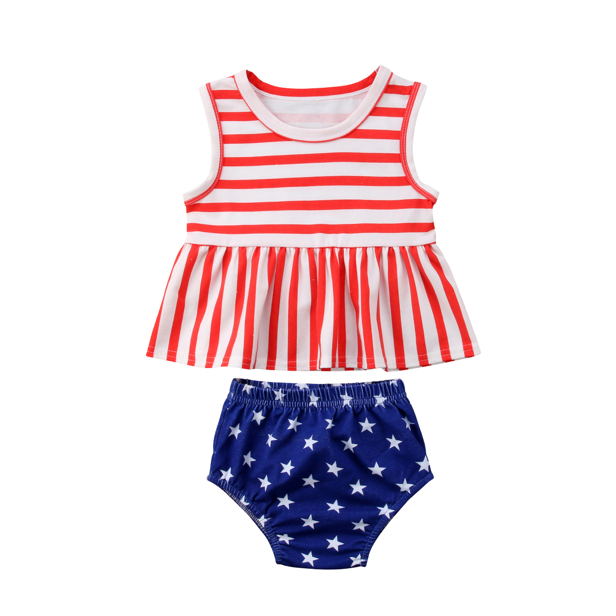 2Pcs Girls Suits Baby Kids Girls Vest Striped Tops Dress Stars Pants Shorts Summer Outfits Clothes Sets