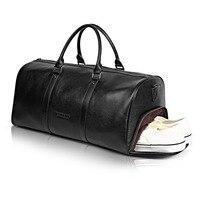BOSTANTEN Big Large Genuine Leather Men Travel Bags Overnight Duffel Bag Weekend Travel Huge Tote Bags Crossbody Travel Bags