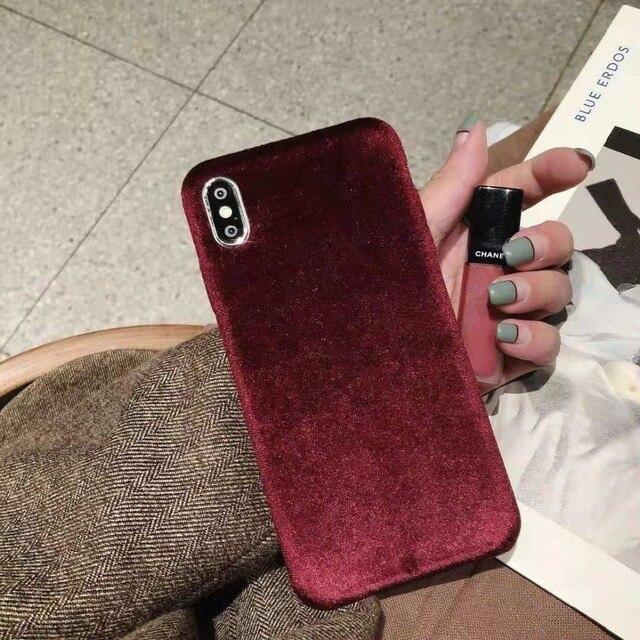 Silk Velvet Fabric Soft Warm case For iphone 7 7plus Case TPU Cloth Full Phone Cases For iphone X 6S 7 8 Plus Xs Max Funda Cover