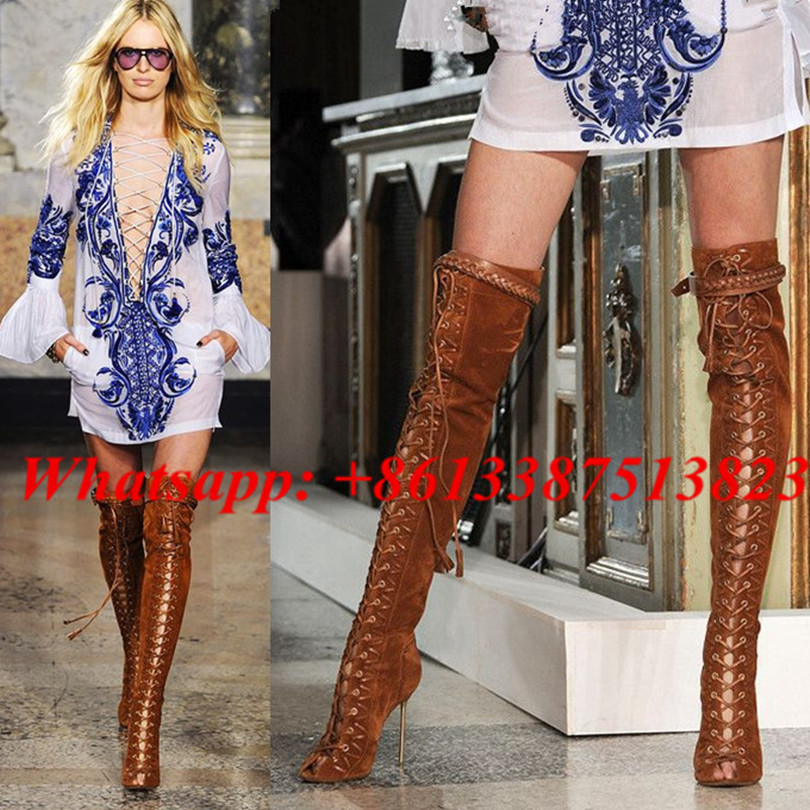 Suede Frige Belt Buckle Lace Up Thigh High Boots Peep Toe Cutouts High Heels Sexy Over The Knee Boots Gladiator Sandals Boots hot boots women sexy black thigh high boots peep toe soft leather back zip high heels over the knee boots gladiator sandal boots