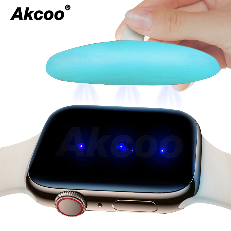 Akcoo 6D Full Cover Film For Apple Watch 4 5 Series 40 44mm Screen Protector UV Full Glue Glass For Series 1 2 3 38 40mm Film