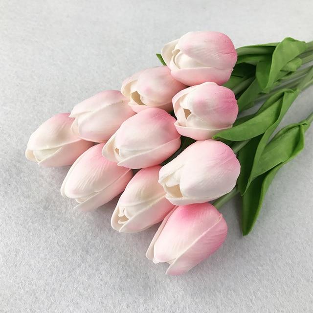 1 PC DELL'UNITÀ di ELABORAZIONE mini Tulipani Fiori Artificiali Reale di tocco F