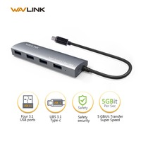 Wavlink Aluminum 4 Port USB 3 0 Hub Type C Adapter With USB C Female Charging